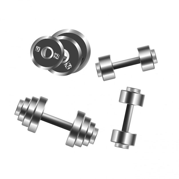 Haltères Poids Vectorielles Icônes Pour L'entraînement Sportif Et Fitness Vecteur Premium