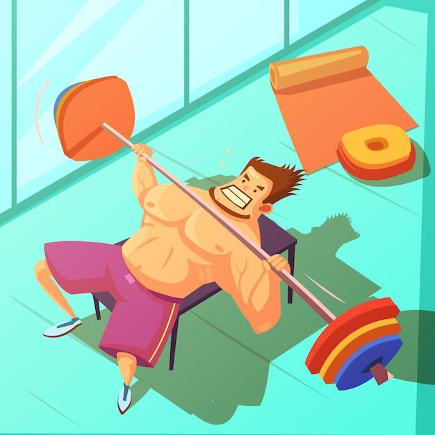 Haltérophilie dans un fond de gym avec banc barbell et homme Vecteur gratuit
