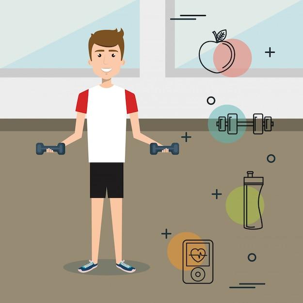 Haltérophilie homme avec icônes sportives Vecteur gratuit
