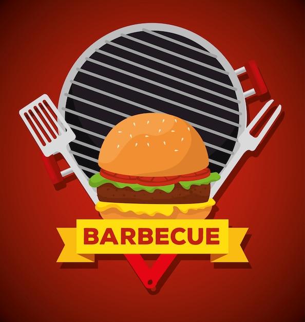 Hamburger au grill avec fourchette et ustensiles de barbecue Vecteur gratuit