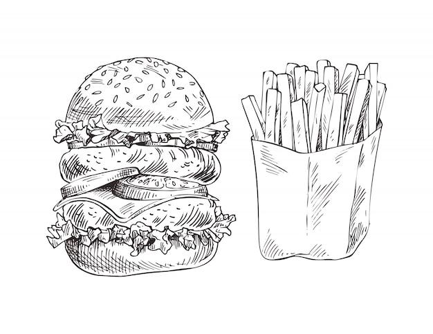 Hamburger énorme et pommes de terre frites Vecteur Premium