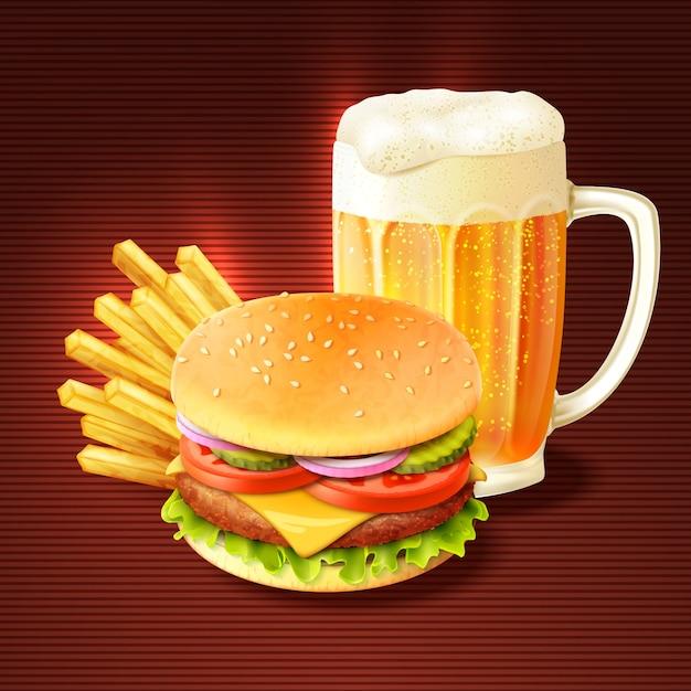 Hamburger et fond de bière Vecteur gratuit
