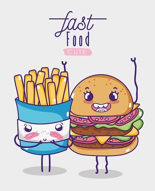Hamburger Et Frites Kawaii Dessin Anime Vecteur Premium