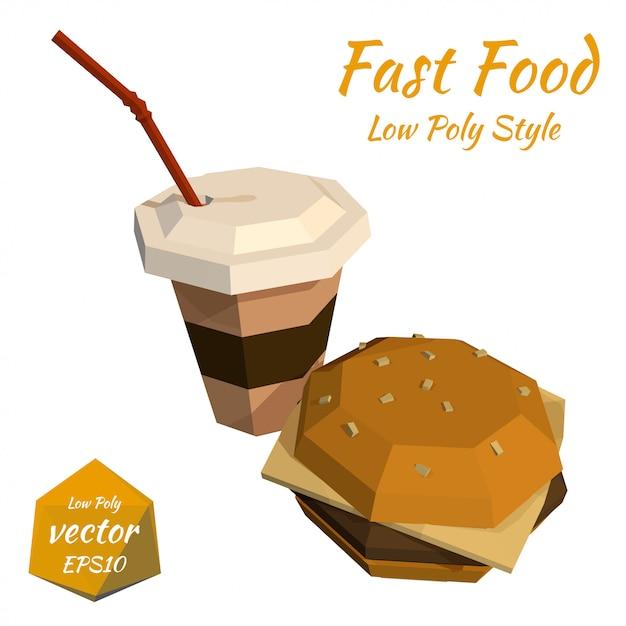 Hamburger et une tasse en plastique de café et une illustration de paille Vecteur Premium