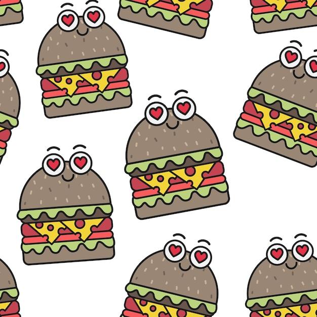 Hamburgers émotionnels de vecteur modèle sans couture Vecteur Premium