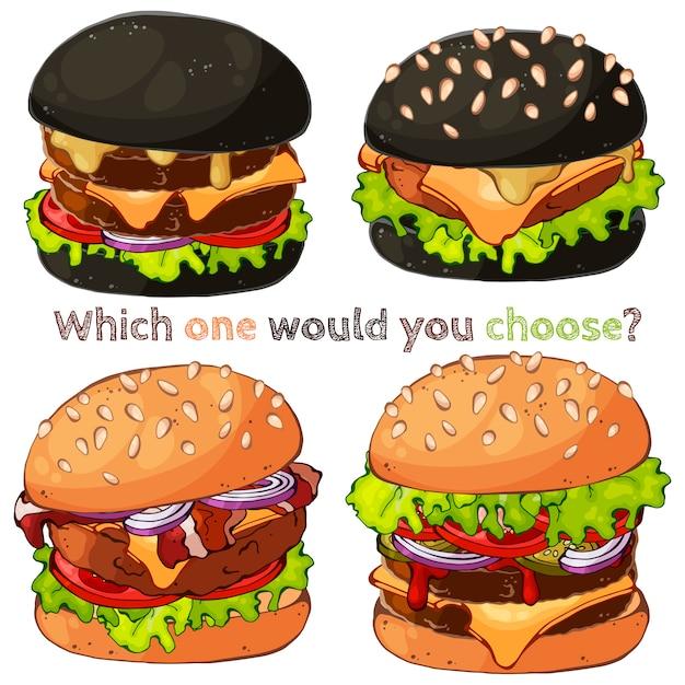 Des hamburgers. Vecteur Premium