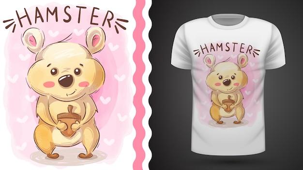 Hamster with nut - idée pour t-shirt imprimé Vecteur Premium