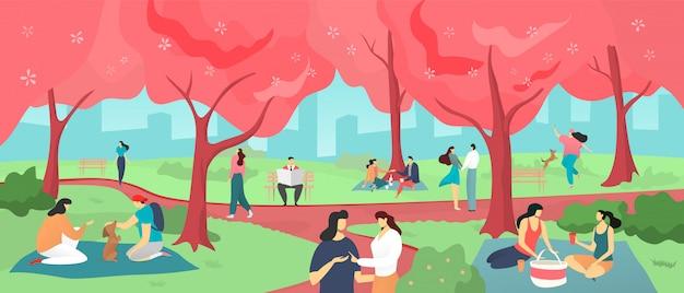 Hanami Sakura Festival Personnes Regardant Des Fleurs De Cerisier Au Printemps Japon Illustration De Dessin Anime De Pique Nique Hanami Vecteur Premium
