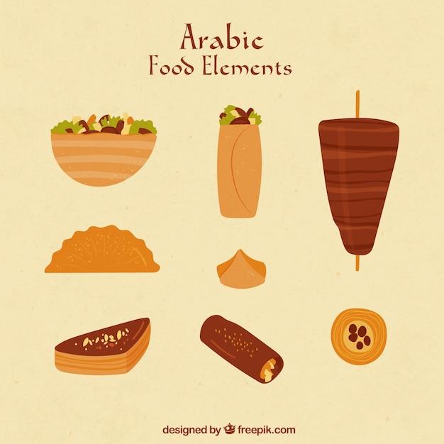Hand Drawn Alimentaire Dans Le Style Arabe Vecteur gratuit