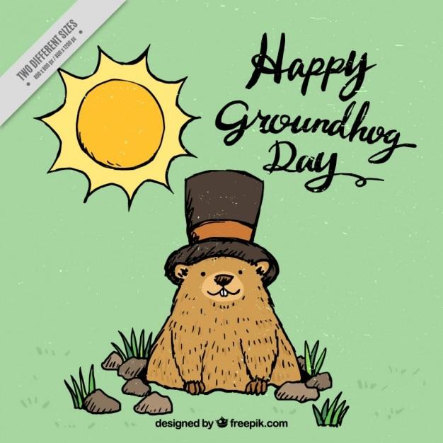 Hand drawn belle marmotte day background Vecteur gratuit