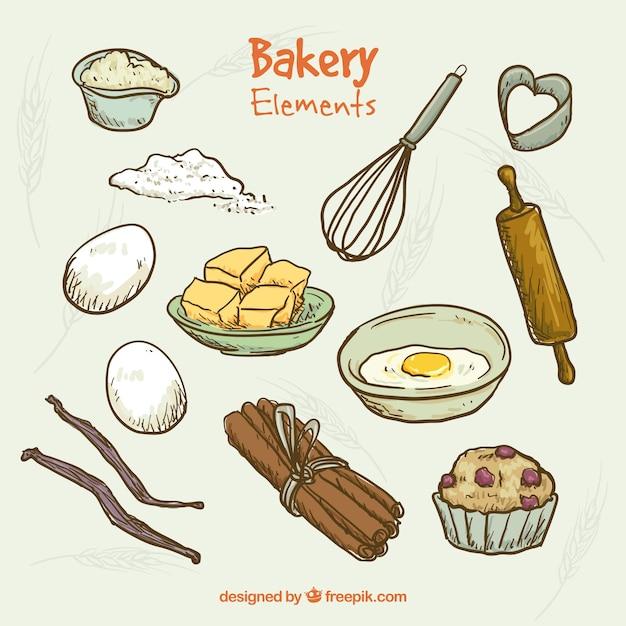 Hand drawn éléments de boulangerie et des outils de cuisine Vecteur gratuit