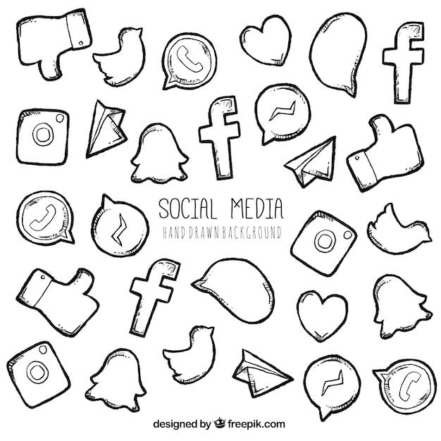 Hand drawn éléments de réseaux sociaux et logos Vecteur gratuit