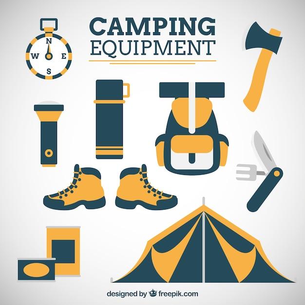 Hand drawn équipement de camping en deux couleurs Vecteur Premium