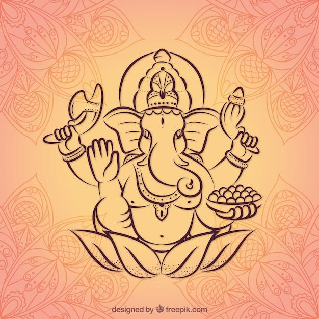 Hand Drawn Fond Ganesha Vecteur gratuit