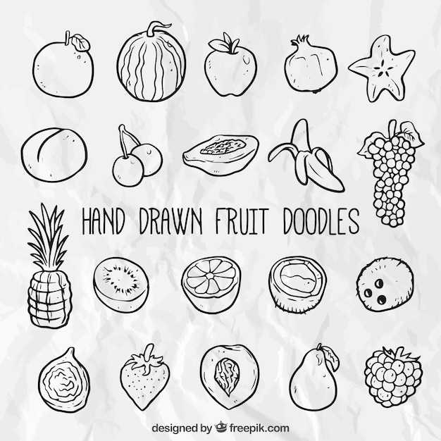Hand drawn fruit set Vecteur gratuit