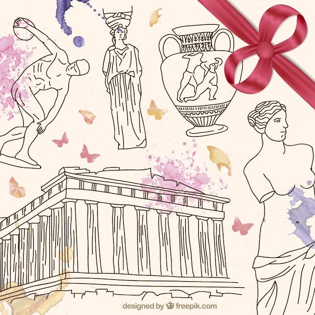 Hand drawn grèce culture Vecteur gratuit