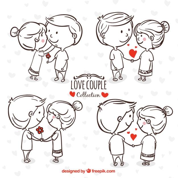 Hand-drawn jeune couple dans les moments romantiques Vecteur gratuit