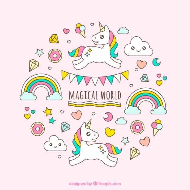 Hand drawn licorne blanche dans un monde magique Vecteur gratuit