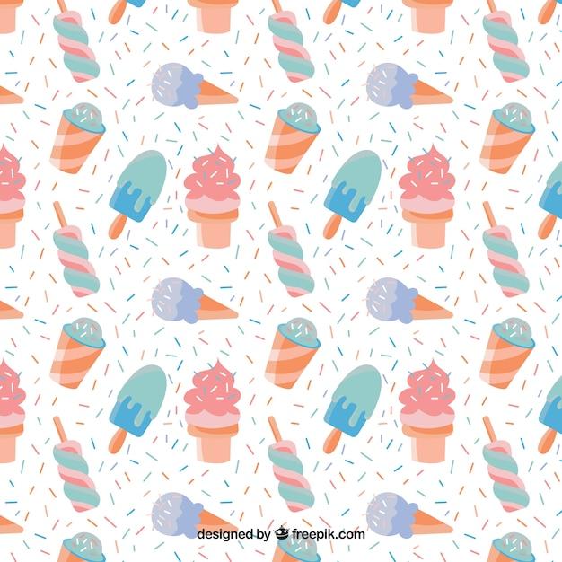 hand drawn motif glaces dans des couleurs pastel t l charger des vecteurs gratuitement. Black Bedroom Furniture Sets. Home Design Ideas