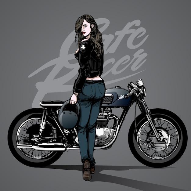 Hand Drawn Sexy Girl With Moto Background Vecteur Premium