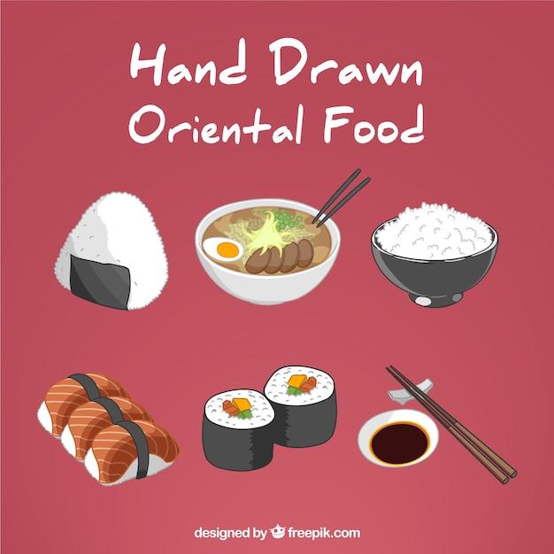 Hand Drawn Variété De Nourriture Orientale Vecteur Premium