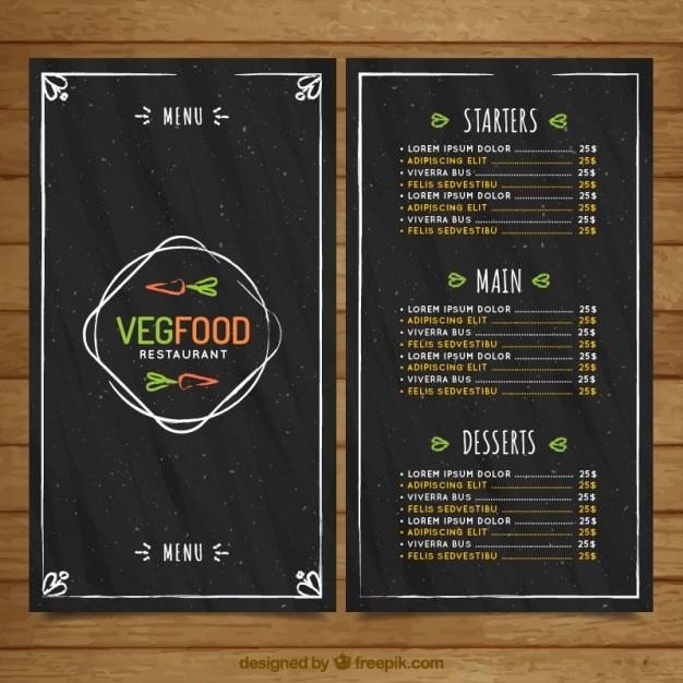 Hand drawn végétalien cru menu de nourriture dans le style tableau noir Vecteur gratuit