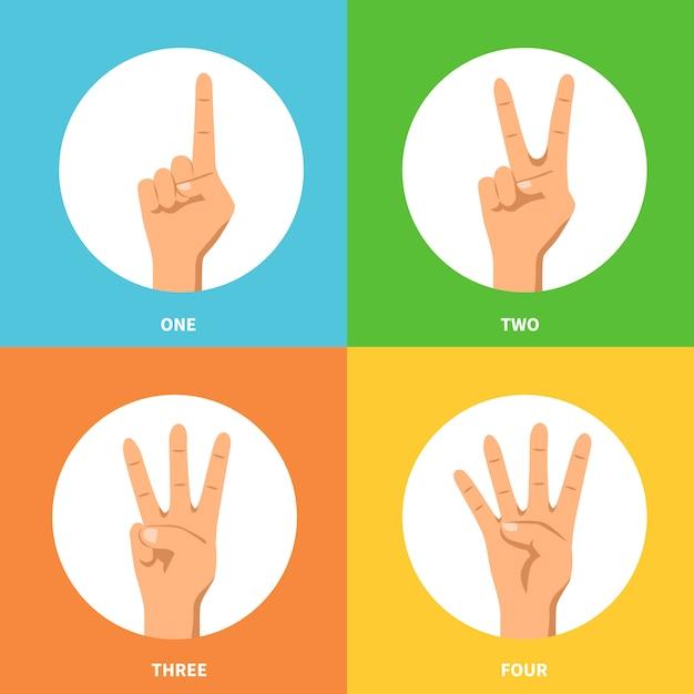 Hands 2x2 design concept set Vecteur gratuit