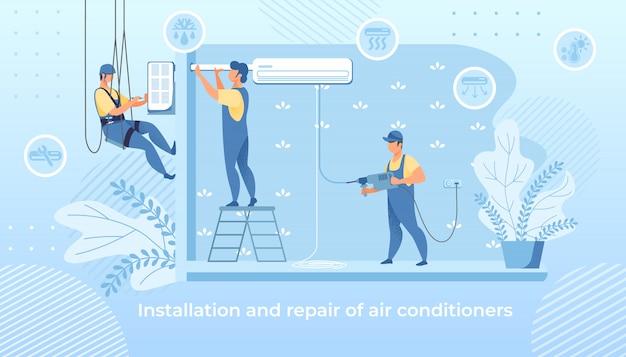 Handy Men Installation Et Réparation De Climatiseurs Vecteur Premium