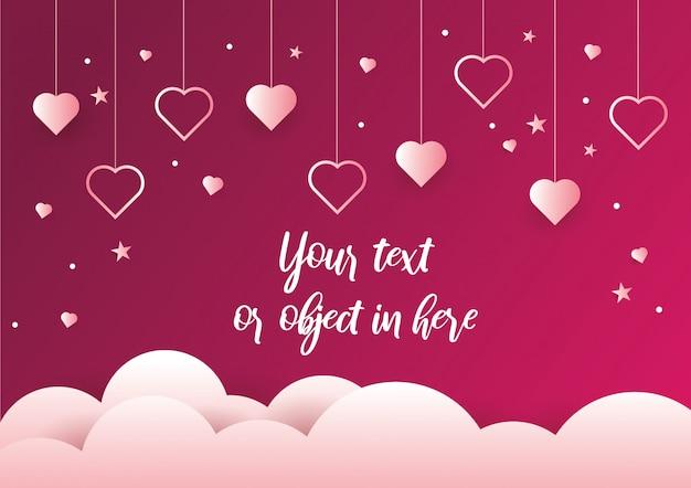 Hanging coeurs fond et saint valentin Vecteur Premium