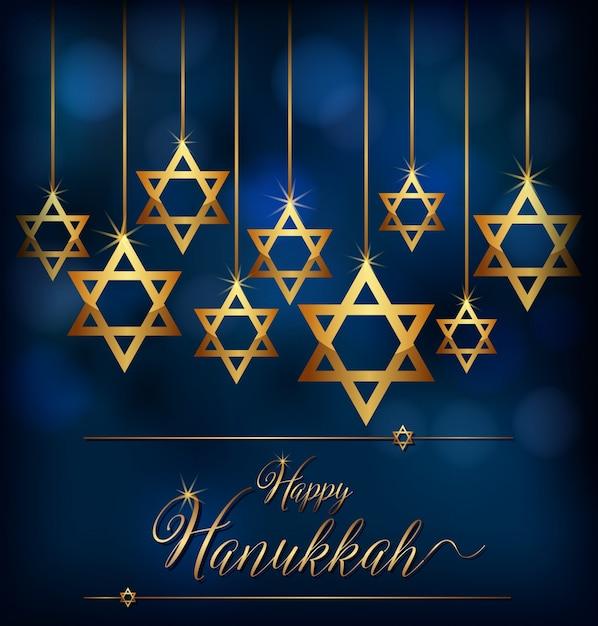 Hannukkah heureux avec le symbole d'étoile des juifs Vecteur Premium
