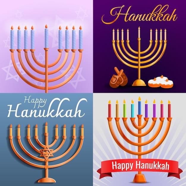 Hanukkah banner set, style de bande dessinée Vecteur Premium
