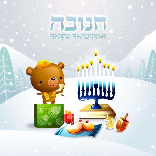 Hanukkah conception de fond Vecteur gratuit