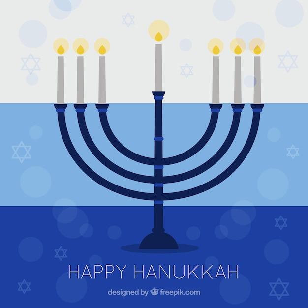 Hanukkah fond avec candélabre et les étoiles dans le design plat Vecteur gratuit