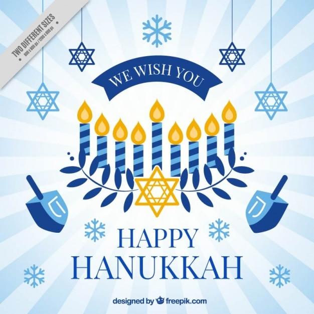 Hanukkah fond avec des flocons de neige et étoiles Vecteur gratuit
