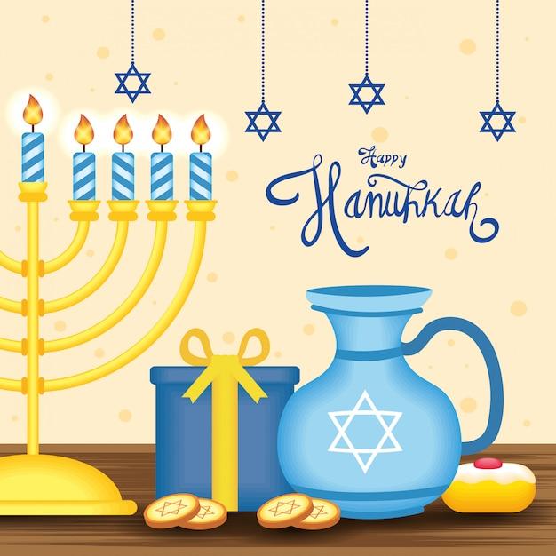 Hanukkah Heureux Lettrage Avec Lustre Vecteur gratuit