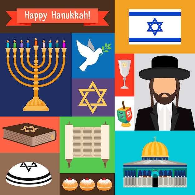 Hanukkah heureux Vecteur Premium