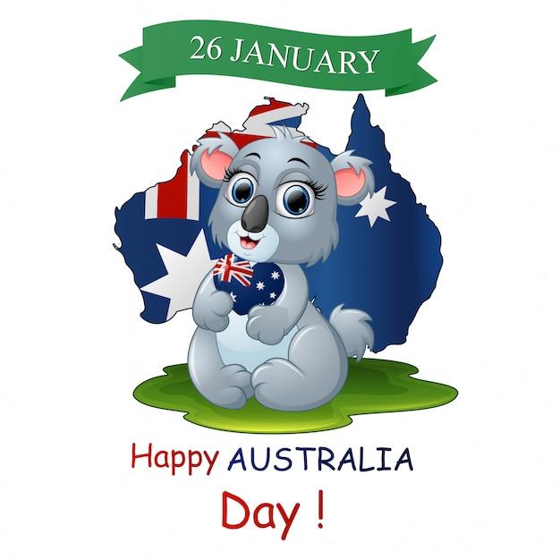 Happy australia day poster avec un koala drôle sur fond de carte Vecteur Premium