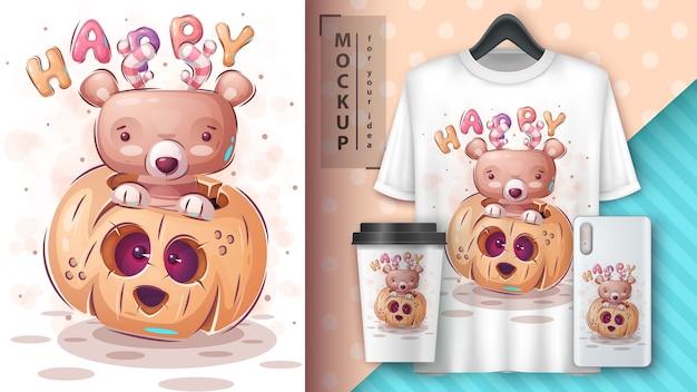 Happy Bear - Affiche Et Merchandising Vecteur gratuit
