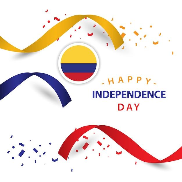 Happy Columbia Independent Day Design De Modèle De Vecteur Vecteur Premium