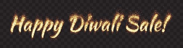 Happy diwali sale text banner Vecteur Premium
