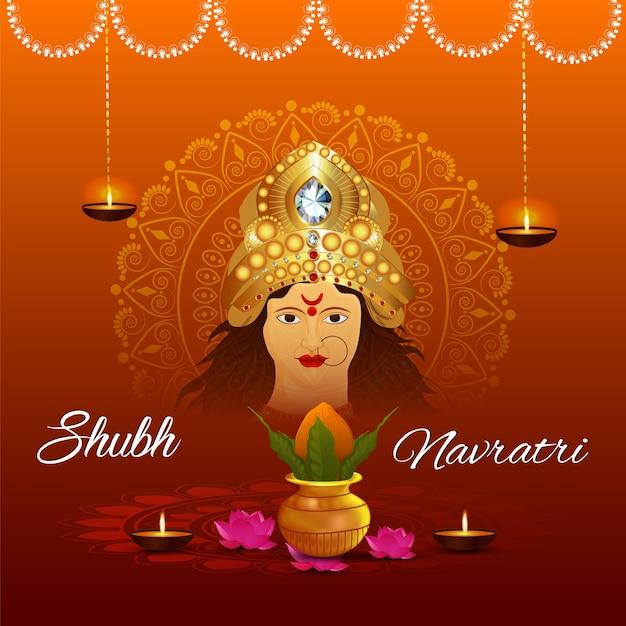 Happy Durga Pooja Avec Un Design De Fond Ashtami Vecteur Premium