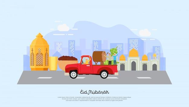 Happy eid mubarak avec le caractère des gens. Vecteur Premium