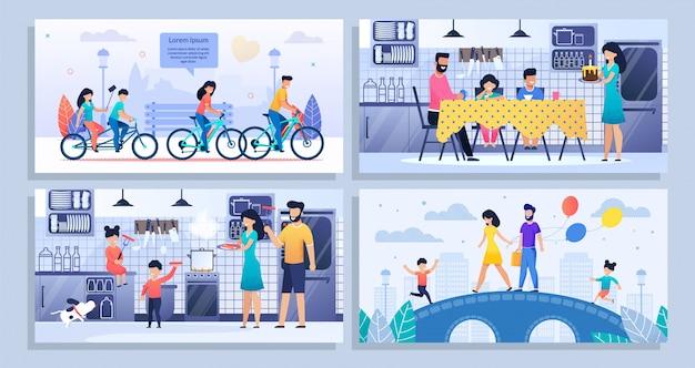 Happy family daily routine set de maquette de bannière plate Vecteur Premium