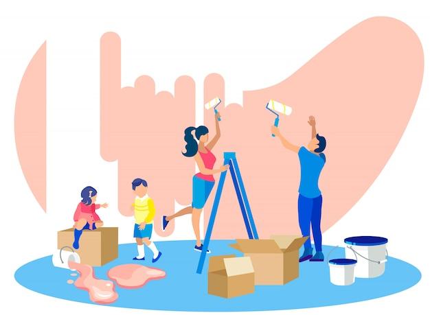 Happy Family Painting Walls Dans La Nouvelle Maison. En Mouvement Vecteur Premium