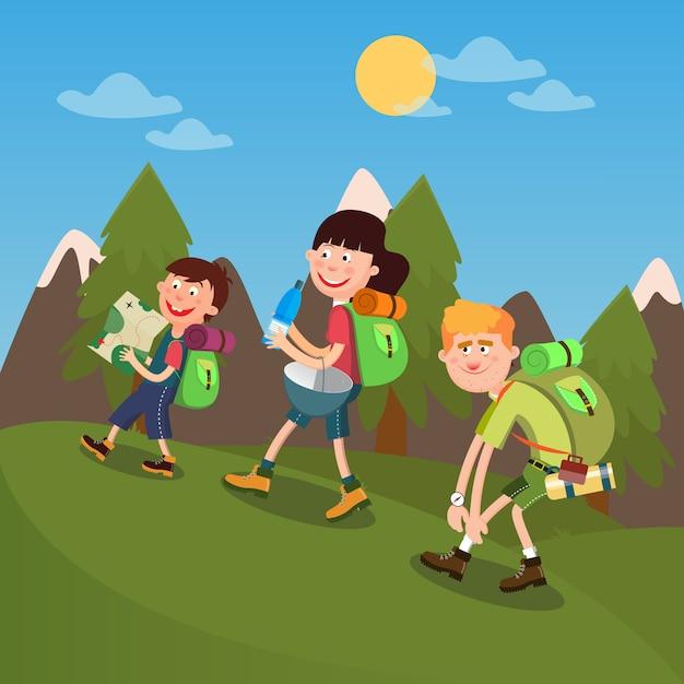 Happy family randonnée dans les montagnes. week-end en famille. Vecteur Premium