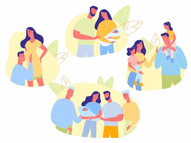Happy family time line, grossesse, générations Vecteur Premium