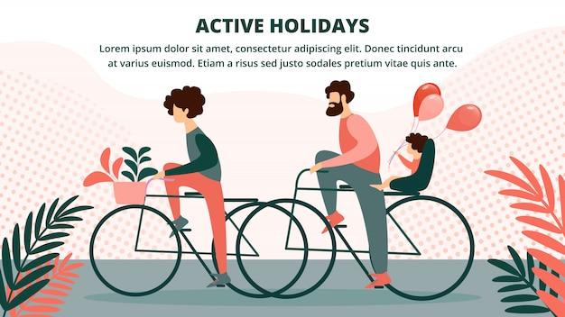 Happy family à vélo Vecteur Premium
