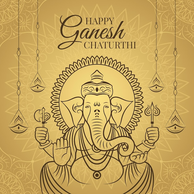 Happy Ganesh Chaturthi Vecteur gratuit