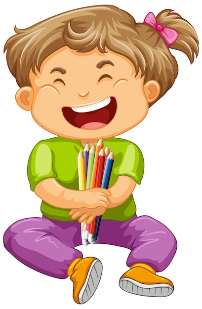 Happy Girl Holding Crayon De Couleur Vecteur gratuit