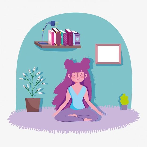 Happy Girl Pratiquant Le Yoga Activité Sport Exercice à La Maison Vecteur Premium